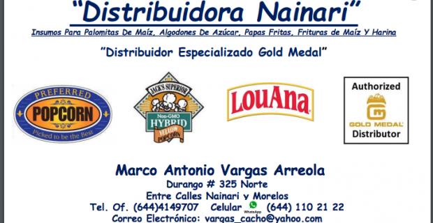 Distribuidora Nainari.  Insumos Para Palomitas De Maíz, Algodones De Azúcar, Papas Fritas, Frituras de Maíz Y Harina