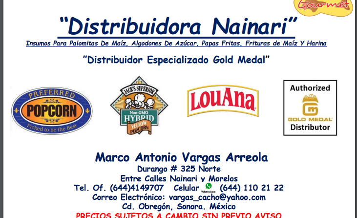 Distribuidora Nainari Insumos Para Palomitas De Maíz